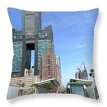Throw Pillow featuring the photograph The New Kaohsiung Light Rail Train by Yali Shi