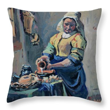 The New Milkmaid Throw Pillow