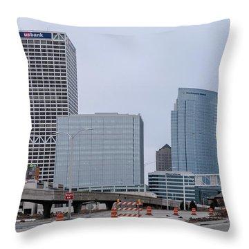 Throw Pillow featuring the photograph The New Milwaukee Skyline by Randy Scherkenbach