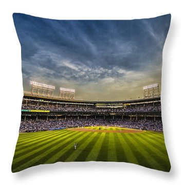 The New Wrigley Field With Pretty Sunset Sky Throw Pillow