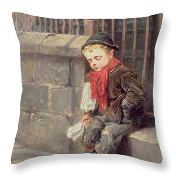 The News Boy Throw Pillow by Ralph Hedley
