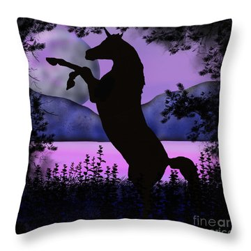 The Night Of The Unicorn Throw Pillow