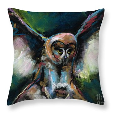 Throw Pillow featuring the painting The Night Owl by Frances Marino