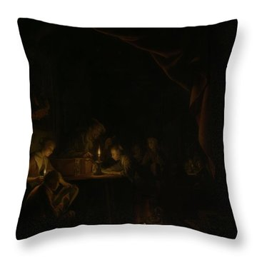 The Night School Throw Pillow by Gerard Dou