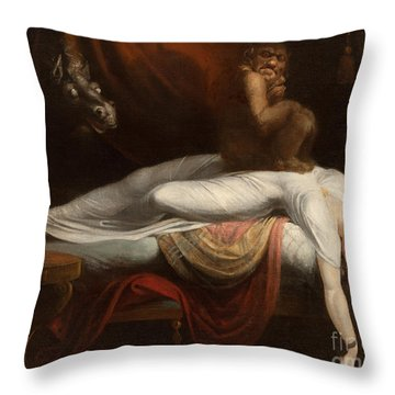 The Nightmare Throw Pillow by Henry Fuseli