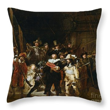 The Nightwatch Throw Pillow by Rembrandt