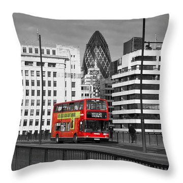 The No 43 To London Bridge Throw Pillow by Hazy Apple