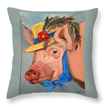 Throw Pillow featuring the painting The Noble Pig by Susan Thomas
