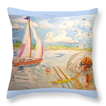 The None Such Sailboat Throw Pillow