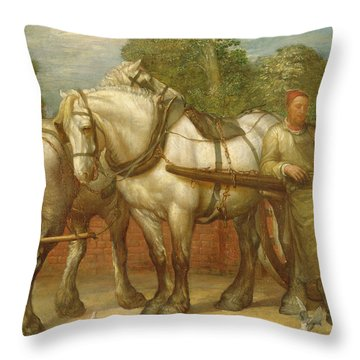The Noonday Rest  Throw Pillow by George Frederick Watts