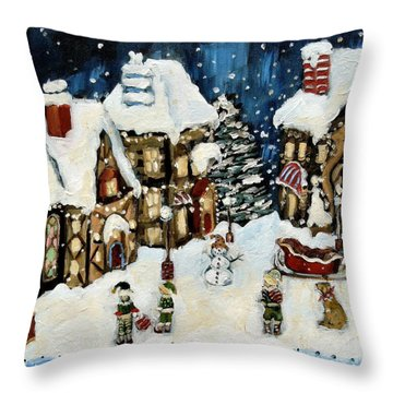 The North Pole Throw Pillow by Carrie Joy Byrnes
