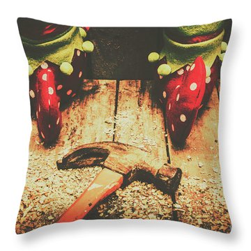 The North Pole Toy Factory Throw Pillow