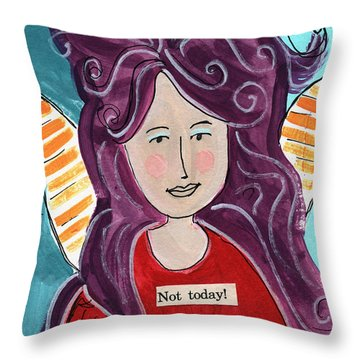 The Not Today Fairy- Art By Linda Woods Throw Pillow