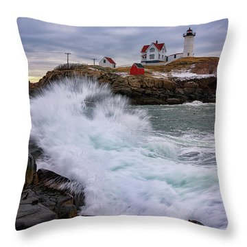 The Nubble After A Storm Throw Pillow by Rick Berk