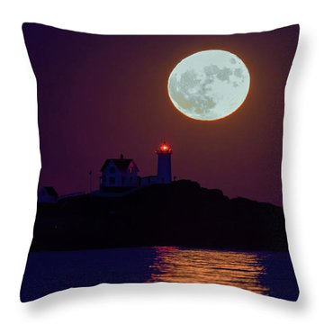The Nubble And The Full Moon Throw Pillow by Rick Berk