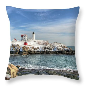 The Nubble Light Throw Pillow