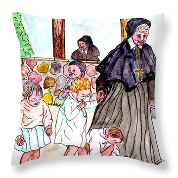 The Nuns Of St Mary's Church Throw Pillow by Philip Bracco