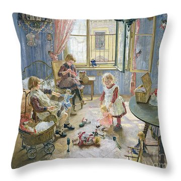 The Nursery Throw Pillow by Fritz von Uhde