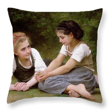 The Nut Gatherers Throw Pillow by William-Adolphe Bouguereau