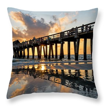 Naples Pier At Sunset Naples Florida Ripples Throw Pillow