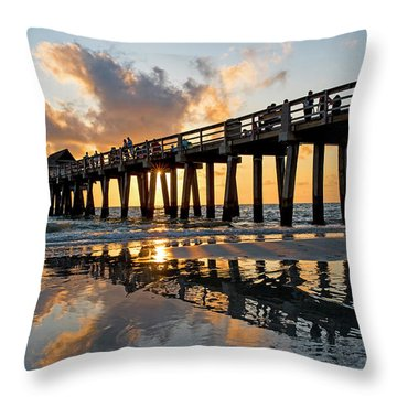 Naples Pier At Sunset Naples Florida Ripples Throw Pillow