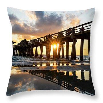 Naples Pier At Sunset Naples Florida Throw Pillow