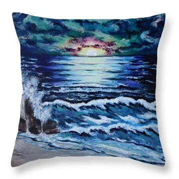Throw Pillow featuring the painting The Ocean Sings The Sky Listens by Cheryl Pettigrew