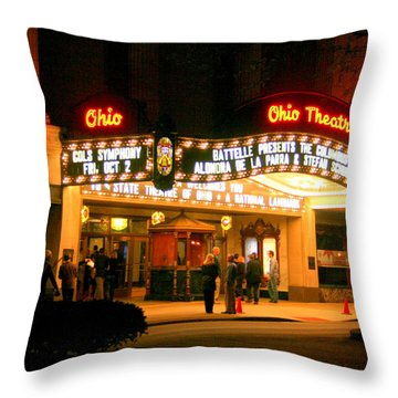 The Ohio Theater At Night Throw Pillow by Laurel Talabere