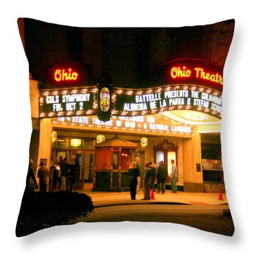 The Ohio Theater At Night Throw Pillow