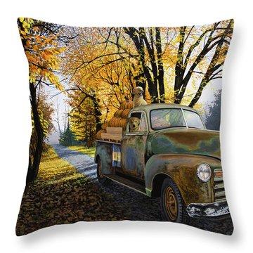 The Ol' Pumpkin Hauler Throw Pillow
