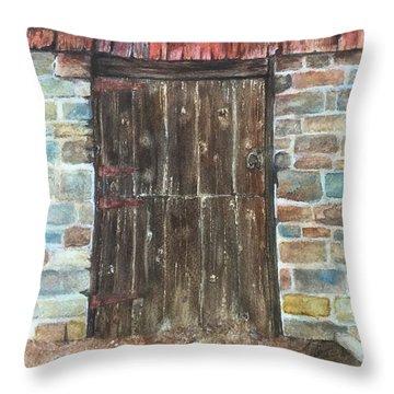 The Old Barn Door Throw Pillow