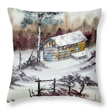 The Old Barn In Winter Throw Pillow