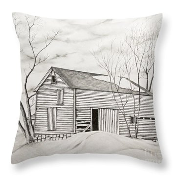 The Old Barn Inwinter Throw Pillow by John Stuart Webbstock