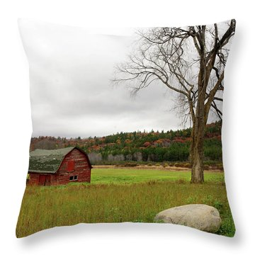 The Old Barn With Tree Throw Pillow