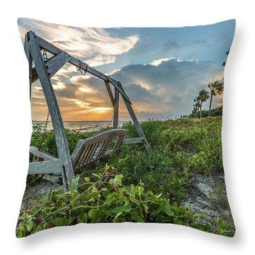 The Old Beach Swing -  Sullivan's Island, Sc Throw Pillow