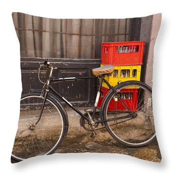 The Old Bicycle Throw Pillow by Rae Tucker
