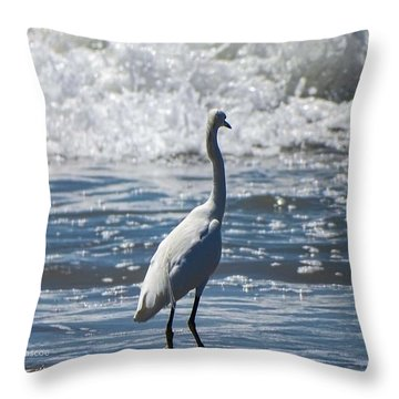 Egret And The Waves Throw Pillow