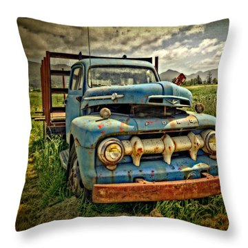The Blue Classic Ford Truck Throw Pillow