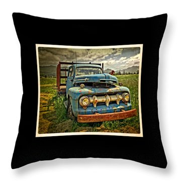 The Blue Classic 48 To 52 Ford Truck Throw Pillow