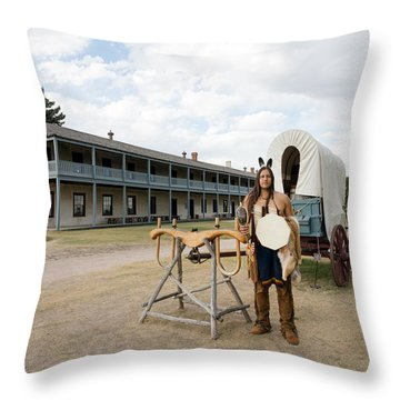Throw Pillow featuring the photograph The Old Cavalry Barracks At Fort Laramie National Historic Site by Carol M Highsmith