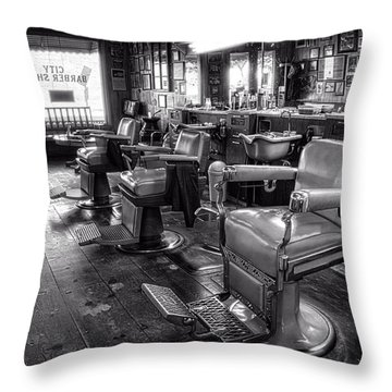 The Old City Barber Shop In Black And White Throw Pillow