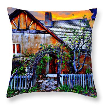 The Old Cottage Throw Pillow