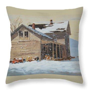 the Old Farm House Throw Pillow by Len Stomski