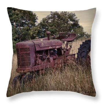 The Old Farmall Throw Pillow by Laurinda Bowling