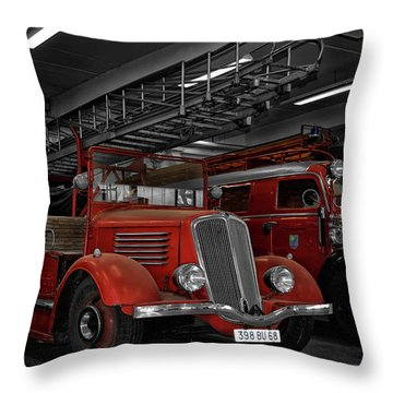 The Old Fire Trucks Throw Pillow