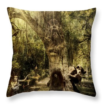 Throw Pillow featuring the digital art The Old Goat Tree by Rhonda Strickland