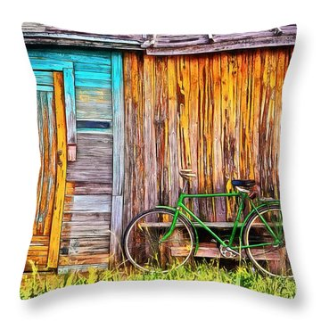 Throw Pillow featuring the painting The Old Green Bicycle by Edward Fielding