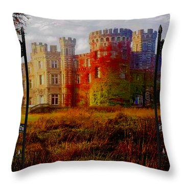 The Old Haunted Castle Throw Pillow