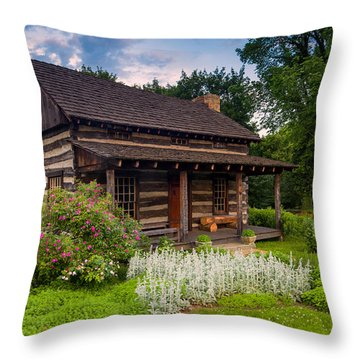 The Old Log Home  Throw Pillow