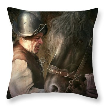 The Old Man And His Trusty Friend Throw Pillow